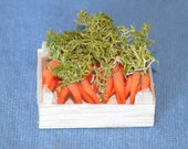 Dollhouse Miniature Food - One Inch Scale Carrots - In Crate - Removable