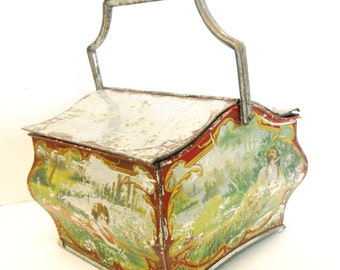Huntley & Palmers Biscuit Tin 1902 Arcadian Tin Curved Handle Double hinged lid Shabby chic Cottage Sweet Tin Tea Caddy tea box tea time