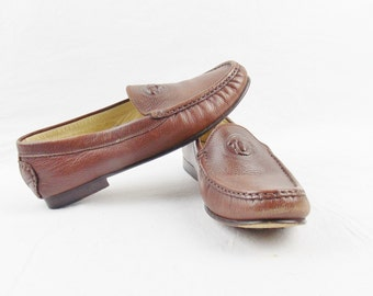 Vintage GIANNI VERSACE COUTURE Whiskey Loafer Driving Shoe with Medusa engraved Face size 39.5