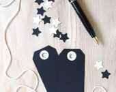 Black Tags, Gold Reinforced Holes, Gift Tags, Party Favor Tags, Weddings, Showers, Set of 20