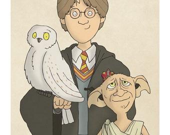 Harry, Hedwig and Dobby -  Harry Potter Art - Harry Potter Prints - Harry Potter Decor -  Illustration Print