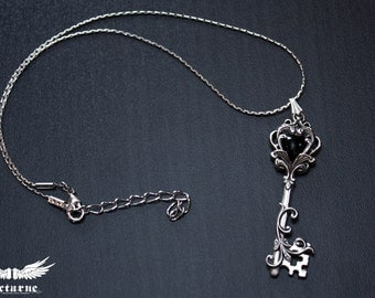 Heart Key Necklace - Silver Pendant with Onyx - Gothic Necklace - Victorian Gothic Jewelry