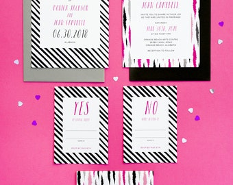 Set of 5 cards - Fun Modern Wedding Invitation Printable