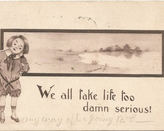 We all take life too damn serious Artist Signed by Cobb Shinn Vintage Postcard Pond Scene in Sepia Sienna