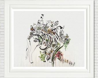 Giclee Fine Art Print, Zebra Decor, Wall Hangings, Home Decor, Zebra Illustration, Zebra Wall Art, Giclee Print