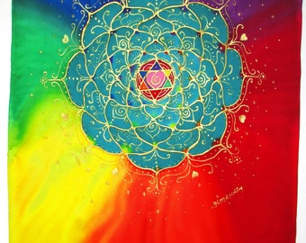 "Rainbow Chakra silk wall hanging, spiritual gift, mandala, chakra art,""Opening the Heart Chakra"",spiritual, meditation art, yoga art, reiki"