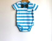 ORIGINAL REAL BOW Tie ~ Baby Boy Vintage Plaid Bowtie - Striped  Summer Onesie Bodysuit