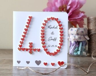 Handmade 3D 40th Ruby Wedding Anniversary Card, 40th Anniversary Card, 40 Wedding Card, Personalized / Personalised Customised Names BHAN40a