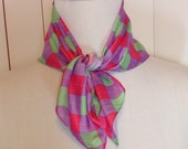 """Vintage Argyle Purple, Green, and Pink Scarf or Pocket Square 19.75"""" by 19.5"""" Polyester Machine Washable Previously Fifteen Dollars ON SALE"""