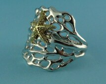 Sea Fan Coral Ring with a cute 14k Gold Starfish, Sea Fan Coral Ring, Starfish Ring, Mixed Media Ocean Inspired Ring, Ocean Inspired Jewelry