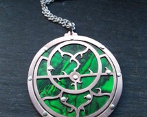 SALE ~~~ Planispheric Astrolabe Pendant - Handcut oxidised copper, sterling silver and paua shell