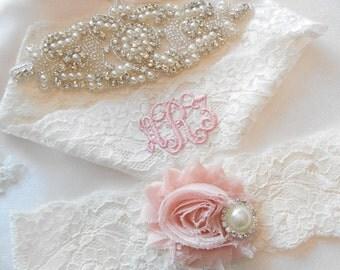 Wedding Garter Set MONOGRAM OPTION Lingerie Lace Classic Pearls and Rhinestone Setting Shabby Rose Bridal Garter Set
