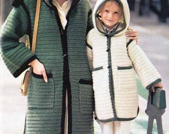 1970s BOHO HOODED KAFTANS Vintage Crochet Pattern, Adult & Child, Retro Coat/Tunic/Coverup/Instant Pdf from GrannyTakesATrip Pdf  0267