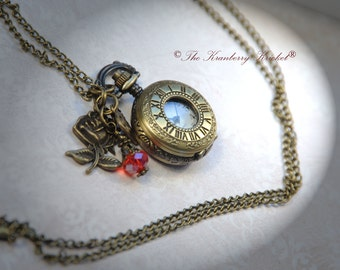 Pocket Watch Rose Necklace, Working Clock Necklace, Charm Necklace, Steampunk Clock Necklace, Small Pocket Watch necklace