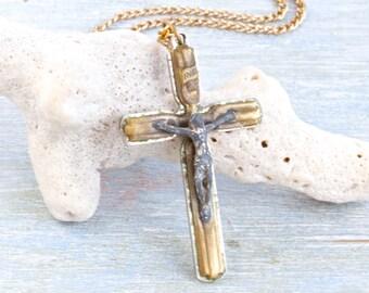 Mid Century Cross necklace - Antique Crucifix Pendant on Chain Necklace - Fatima