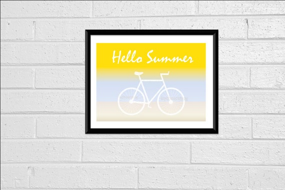 8x10 Print Hello Summer Sign Bike Printable Digital Print Digital Download Digital Art Beach Print Beach Decor Home Decor Print Wall Art