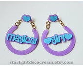 LARGE Lavender and Blue MAGICAL GIRL Dreamy Hoops Glitter Acrylic Charm Earrings for Mahou Kei & Magical Girl Lovers