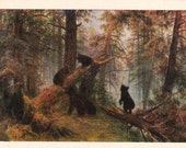 """I. Shishkin """"Morning in a Pine Forest"""" Print, Postcard -- 1978. Fine Arts Publ., Moscow"""