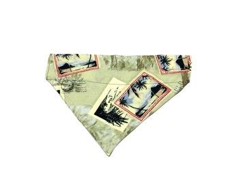 Large Hawaiian Stamp Slip On Dog Bandana Over the Collar