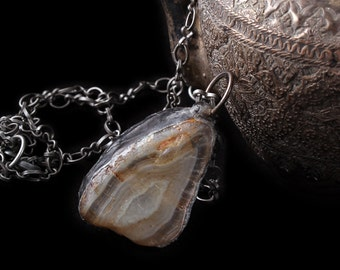 Beautiful Agate Pendant, long chain necklace, Large chunky Pendant, magic healing necklace, Hippie earth stone, dude jewelry, for him