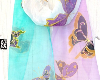 Silk Summer Scarf, Silk Scarf Handpainted, Mint Green and Purple Japanese Golden Kimono Butterflies Scarf, Silk Scarves Takuyo, 8x54 inches,