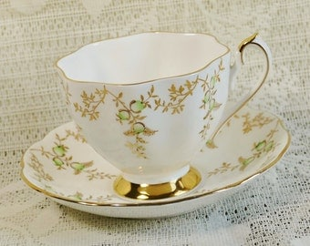 Princess Anne Green and Gold Cup and Saucer