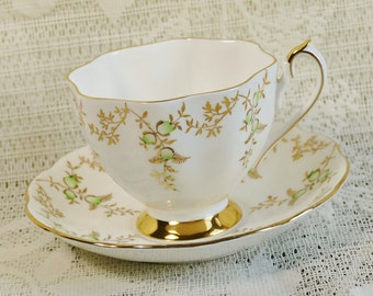 Princess Anne Green and Gold Cup and Saucer, Teacup and Saucer, Vintage Teacup and Saucer, English Teacup, Collectibles