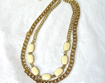 1980's Double Chain Necklace, White Medallions, heavy chains, Excellent