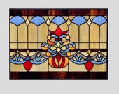 Victorian Stained glass panel window hanging amber stained glass window panel stained glass transom glass valance 0016