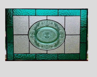 Stained glass panel window vintage Tiara plate teal spruce stained glass window panel window hanging vintage plate 0003