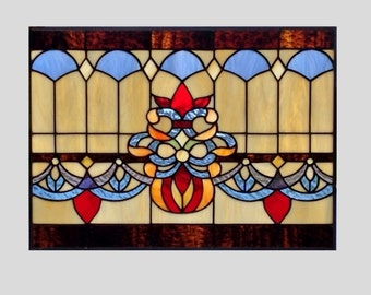 beveled stained glass panel window victorian red