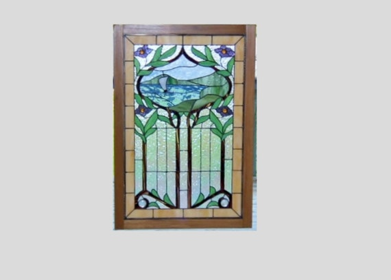 Stained glass panel window sailboat Art Nouveau stained glass window panel wood frame window hanging large