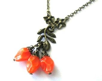 Orange necklace leaf with flowers jewelry antique brass bronze, orange Czech beads, orange flower necklace nostalgic look