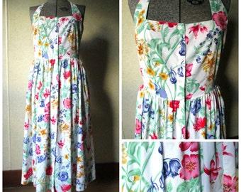 Halter Dress floral sundress long midi length open back garden party tea resort beach vintage 80s 50s style Marilyn dress women medium