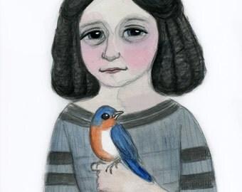 Victorian Portrait, Girl with Bluebird, Watercolor Painting, Edwina, 19th Century Art, Goth Girl, Bird Art (6x8) Victorian Decor Art Print