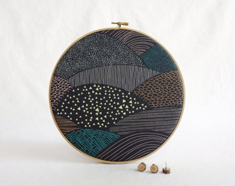 Modern Landscape Cork Memo Board, Office, Embroidery Hoop, Real Wood SliceTacks, Organize, Wall Decor, Home Office