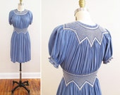 Vintage 1930s Dress | Slate Blue Embroidered Silk 1930s Peasant Dress | petite xs - small