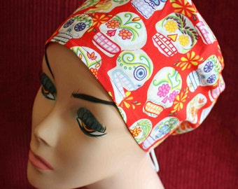Red Sugar Skull Surgical Cap (biker/chemo/surgical)