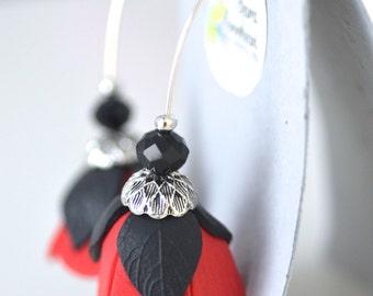 Red Tulip Earrings, Flower Dangel Earrings, Handmade Flowers Earrings, Unique Earrings, Christmas gifts