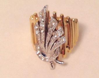 18kt GP Cocktail Ring Size 6.5 Gold, Silver Feather Design w/ Crystal Stones by Vargas