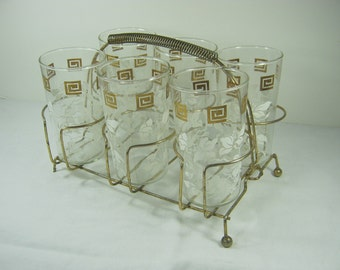 Vintage HIBISCUS TUMBLERS & CADDY Flower Glass Set/6 Gold Carrier Retro Barware