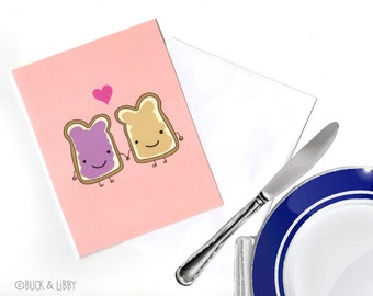 Peanut Butter Loves Jelly Card with Envelope blank inside