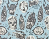 112000025 - Chillax Light Blue West Coast Surffer Cotton Fabric - Sold by the yard