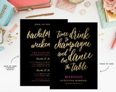 Champagne Weekend Bachelorette Invitation