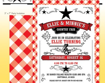 County Fair Party Invitation - Summer BBQ Birthday Party - DIY Print - Summer Birthday - Made to Order - Printed Invitations - Barbecue