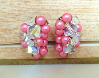 Vintage Crystal Clip Earrings Pink Pearl Bead 50's (item 117)