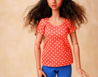 Withdoll MNF Red And White Spot Top For Slim MSD BJD