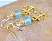 Blue Sea Glass Nautical Earrings, Gold Anchor, Charms, Beaded Dangle Pierced Earrings. OOAK Handmade Earrings. CKDesigns.US