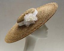 Formal Hat - Wide Brim Hat - w/Ivory Silk Rose - Spring Wedding Hat -Elegant Oversized Brim - Womens 50s Hat- Astrid