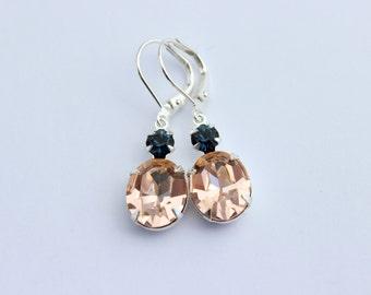 Blue and Peach Swarovski earrings, Peach earrings, Montana earrings, Peach navy earrings, dark blue earrings, navy blue and peach CMB01